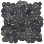 Black Rectified Matte Pebble Interlocking - 12x12 Sheet GANO01R