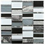 Grey MarbleBlack Grey White Glass Rectangle Mosaic- Sheet 12x12 - MAMI94