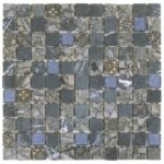 GreyBlue Glass Mix Marble Mosaic 1 x 1 in - Sheet 12x12 - MAMI29