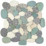 Mix Grey Green White XL Sliced Matte Pebble Interlocking