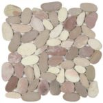 Mix White Pink Beige XL Sliced Matte Pebble Interlocking GAMI78