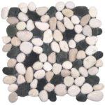Mix WhiteBlack Rectified Matte Pebble Interlocking - 12x12 Sheet GAMI42R