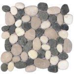 Mix WhiteBlackBeige Rectified Matte Pebble Interlocking - 12x12 Sheet GAMI62R