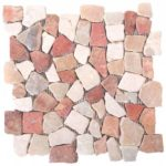 Onyx WhiteRed Opus Mosaic Interlocking - 12x12 Sheet - MAMI09