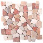 Onyx WhiteRed Opus Mosaic Interlocking - 12x12 Sheet - MAMI09